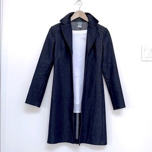 Long Denim Fitted Coat XS